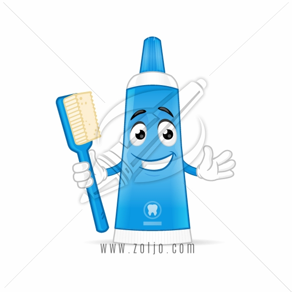 Toothpaste with toothbrush cartoon mascot character illustration