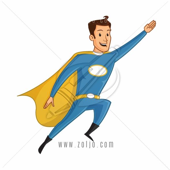 Happy Flying Cartoon Superhero Vector Illustration