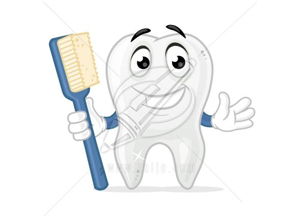 Happy Tooth Cartoon Mascot Vector Illustration