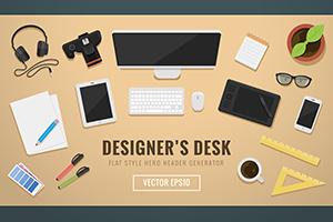 Designer's desk header hero image creator
