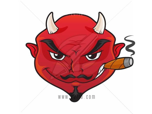 Red devil's face with evil grin smoking cigar vector cartoon illustration