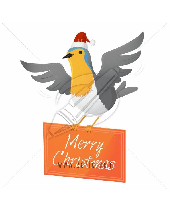 Christmas robin bird holding board with merry christmas text vector illustration