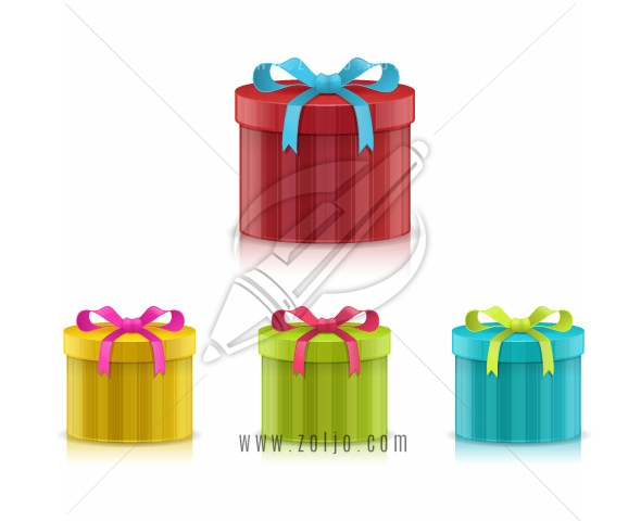 Christmas presents in different color versions isolated on white vector illustration