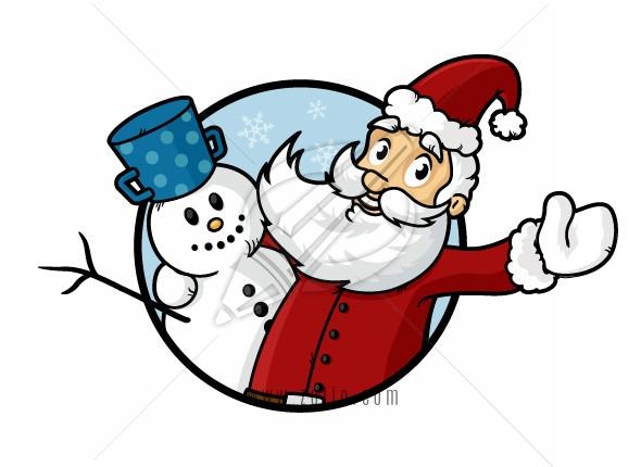 Happy Santa Claus hugging his friend snowman vector cartoon illustration