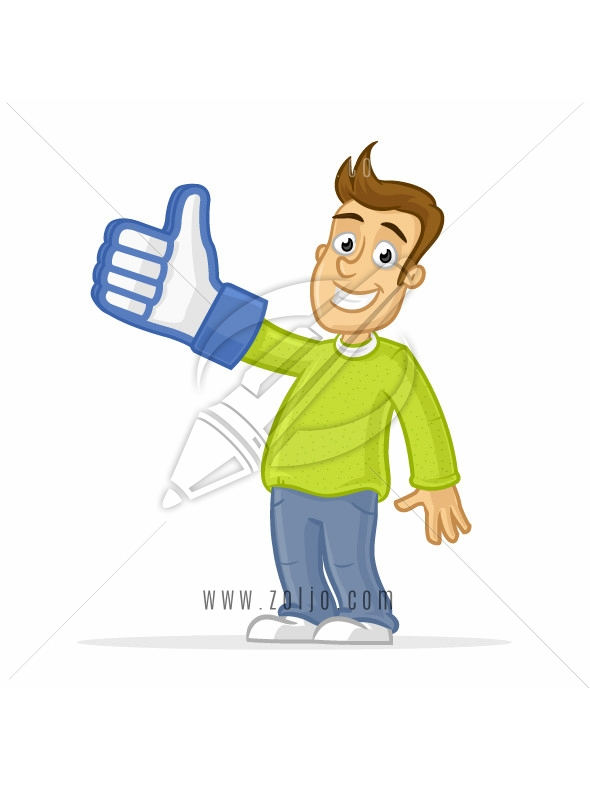 Happy man wearing thumb up like glove vector cartoon illustration