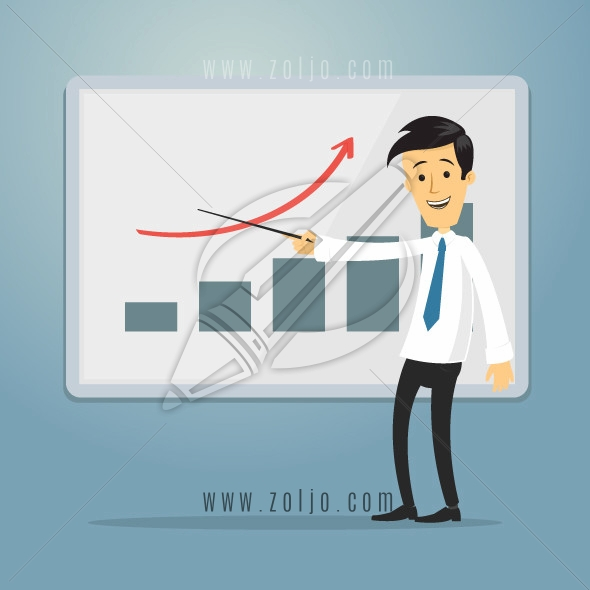 Happy cartoon businessman showing graph on the whiteboard vector illustration