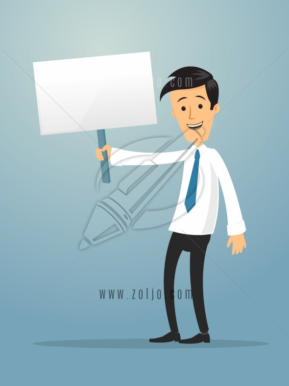 Happy businessman holding blank sign board vector cartoon illustration