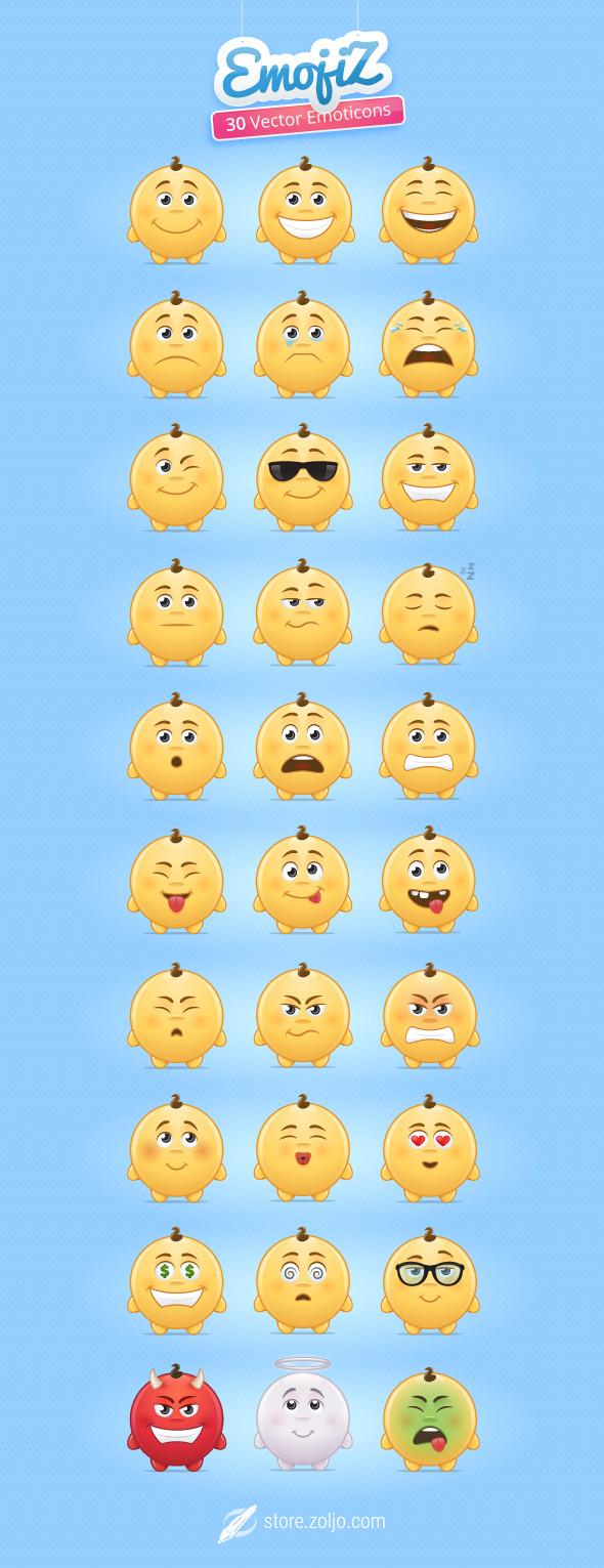 Emojiz - 30 Cute Emoticons Collection