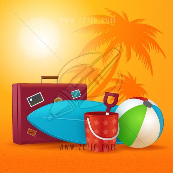 Summer equipment. Travel bag,beach ball,bucket and shovel and surfboard.Vector illustration