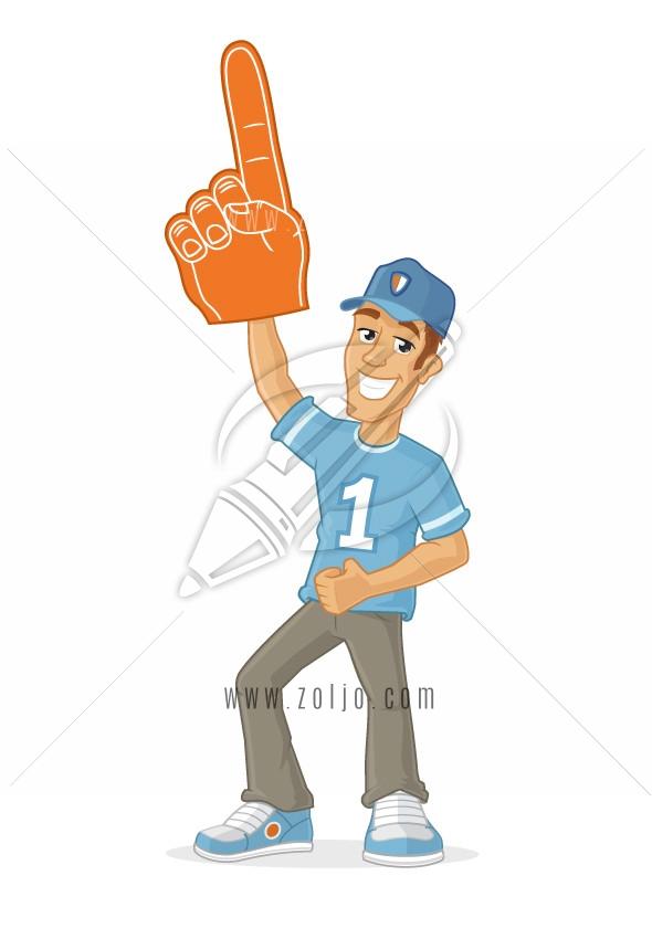 Happy male sports fan rising foam finger in the air vector cartoon illustration