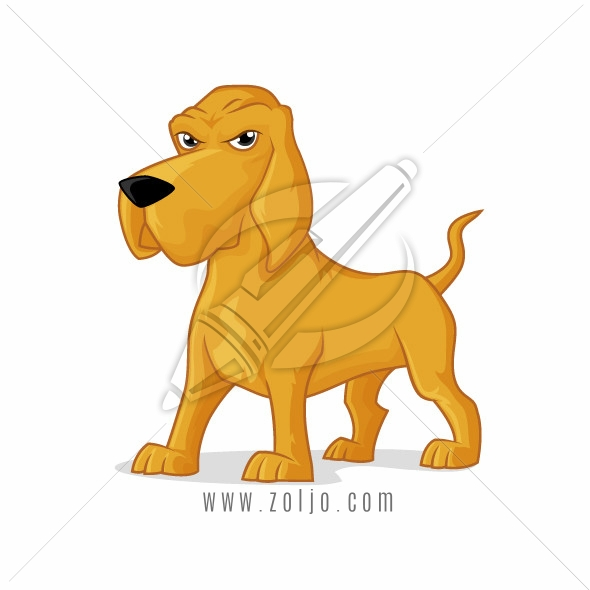 Bloodhound dog vector cartoon illustration isolated on white