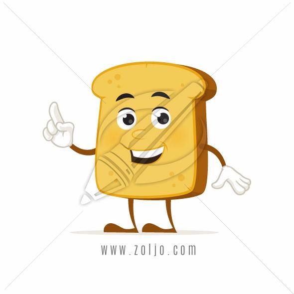 Happy toast bread cartoon mascot vector illustration