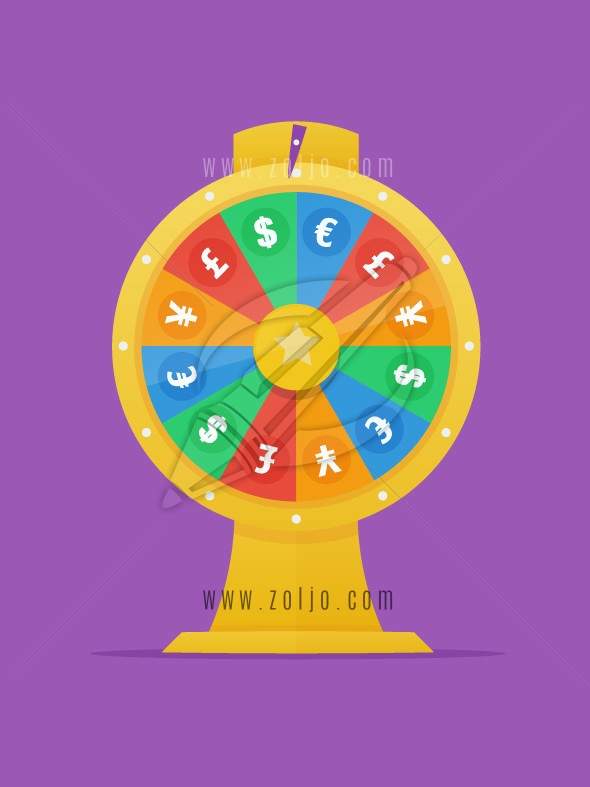 Forex golden wheel of fortune in flat style with dollar,euro, pound and yen currency symbols vector illustration