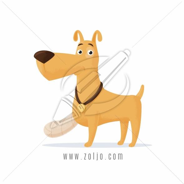 Dog with bandage on injured leg cartoon vector illustration