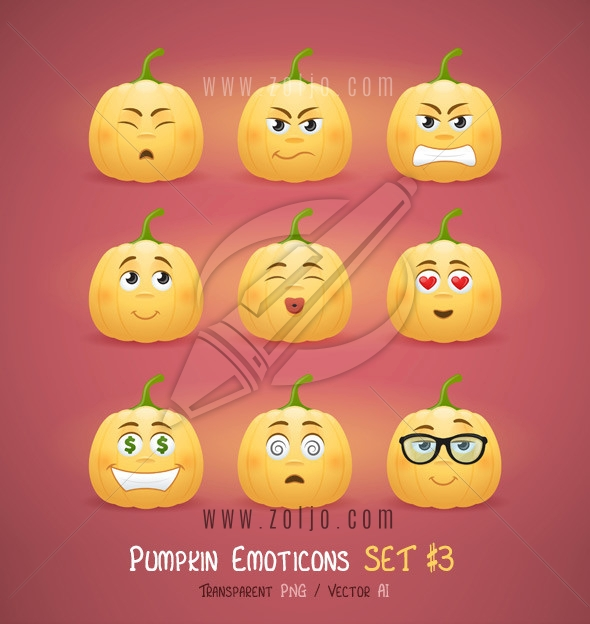 Autumn Halloween pumpkin face emoticons vector illustration - third set