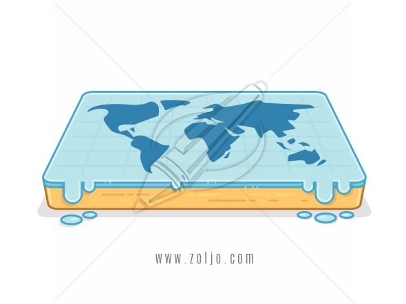 Flat earth concept. World map on flat surface vector illustration