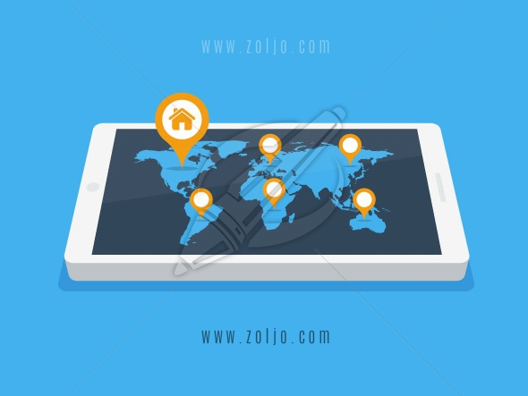 Smartphone with world map and location pins vector illustration in flat style with home icon on the United States, North America