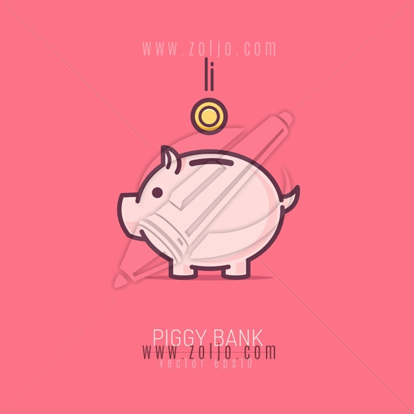 Piggy bank simple vector illustration in flat moniline style