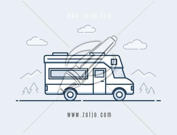 RV vehicle monoline vector illustration