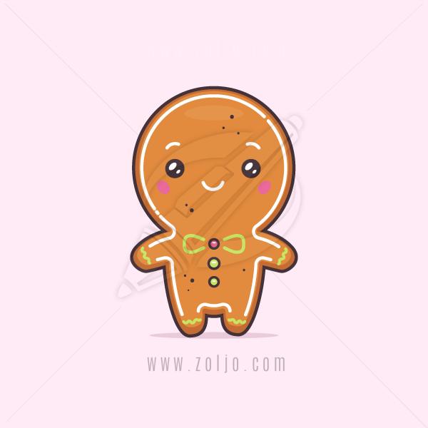 Kawaii Christmas.Kawaii Christmas Gingerbread Man