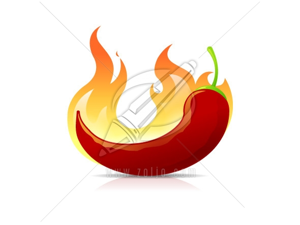 chili pepper in flames