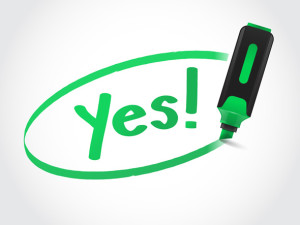 Green highlighter marker writing YES word on paper vector illustration