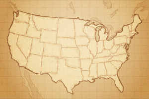 United states of America map drawn on aged paper vector illustration.