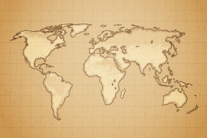 World map drawn on textured aged paper vector illustration.