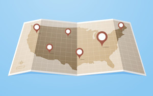 Flat style United States of America map with gps pointers .