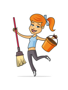 Happy young woman cleaning and dancing with mop an bucket.