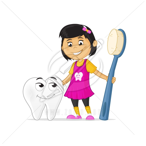 Happy little cartoon girl holding toothbrush, hugging tooth cartoon mascot character.