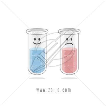Two test tubes cartoon mascots with smiley happy and sad faces vector illustration isolated on white