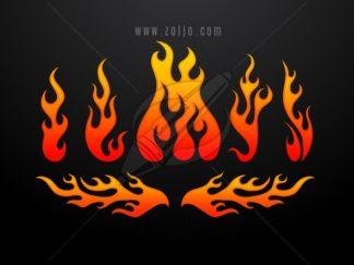 Tribal fire flames set vector illustration