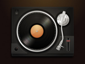 Dj turntable with lp record vector illustration