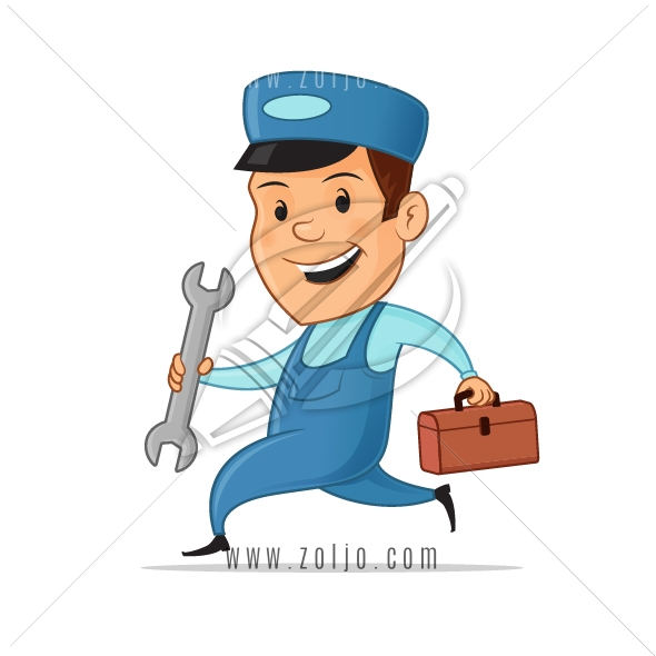 Happy handyman mascot in uniform holding wrench and toolbox