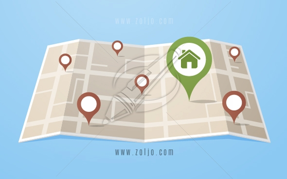 Flat style map with gps pointers with big home icon in the city.