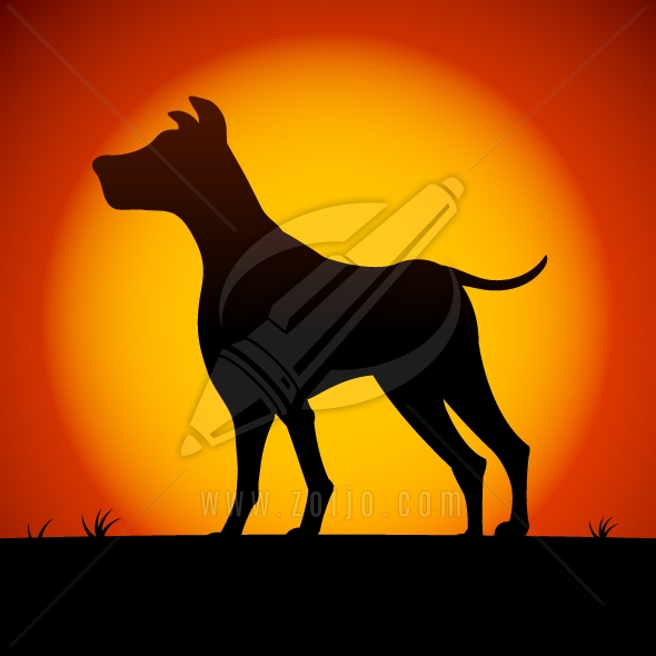 Dog silhouette in sunset vector illustration