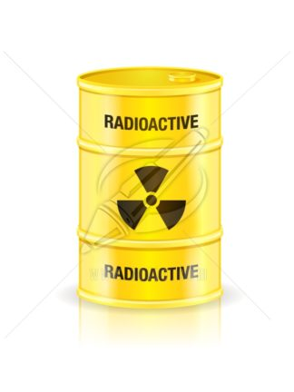 Yellow waste container with radioactive sign vector illustration isolated on white.