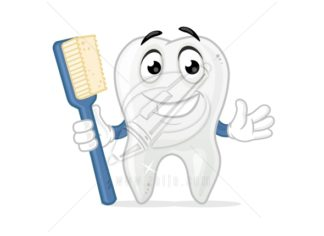 Happy Tooth Cartoon Mascot Vector Illustration