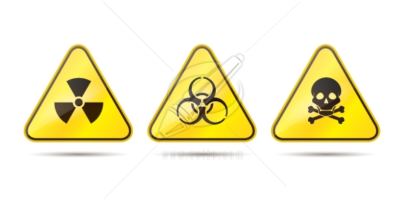 Warning signs for toxic, radioactive and biohazard vector illustration