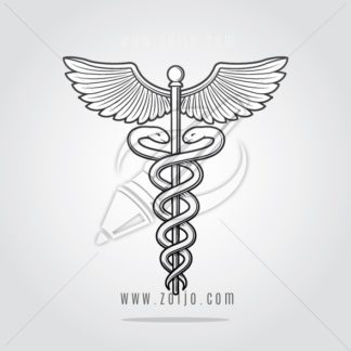 Caduceus symbol illustration drawn in vintage woodcut style vector