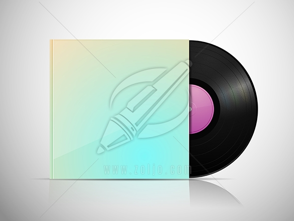 LP vinyl record with blank package vector illustration isolated on white
