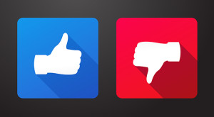 Thumb up and down icons in flat style