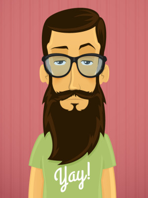 Handsome young hipster man with beard and eyeglasses vector cartoon illustration