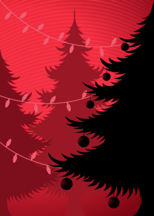 Christmas trees silhouettes vector illustration