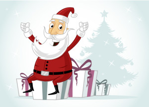 Happy Santa Claus sitting on Christmas presents/gift vector cartoon illustration
