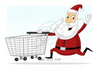 Excited Santa Claus running with shopping cart vector cartoon illustration