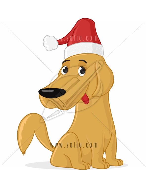 Cute dog retriever with santa clause hat vector cartoon illustration isolated on white