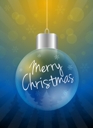 Christmas ball with Merry Christmas text vector illustration
