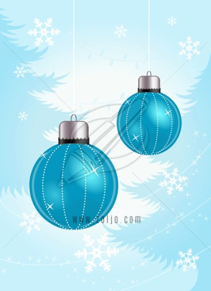 Blue Christmas balls ornaments with snowflakes and christmas trees vector illustration